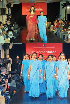 The erstwhile women scavengers (untouchables) walked the ramp with the models who showcased their handiwork at the United Nations in New York