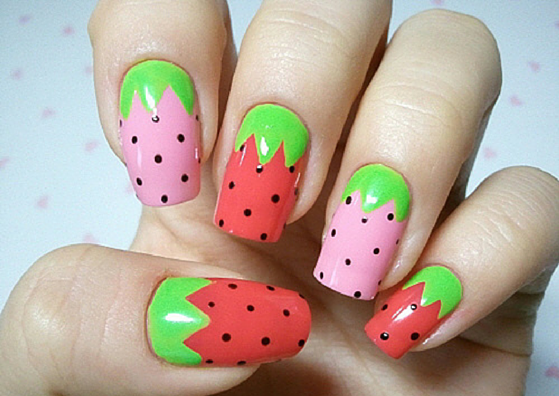 Simple Strawberry Nail Art