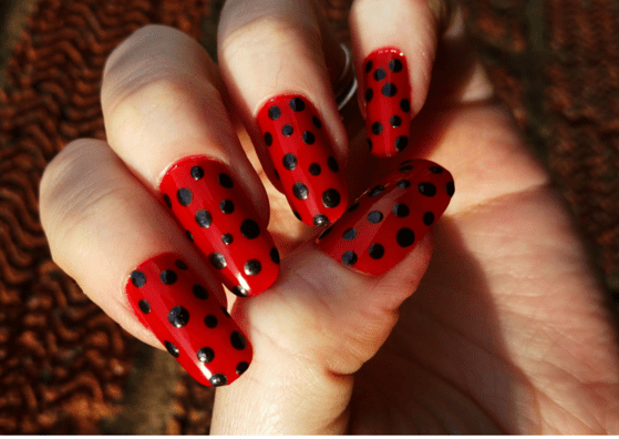 Black And White Polka Dots Flower Design With Red Tip Nail Art