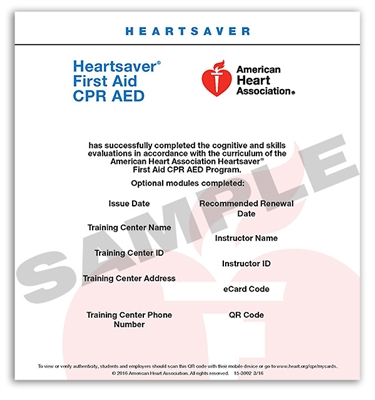 Heartsaver First Aid CPR AED Course Completion ECard 2015 LifeTek Inc