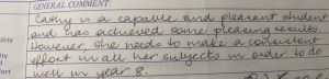 School report comment age 13!!