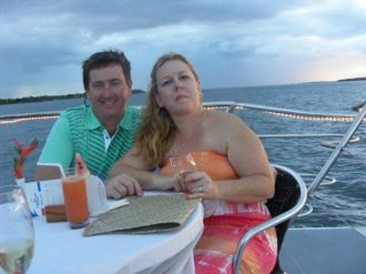 on a cruise in Fiji celebrating 10yrs marriage and both of us turning 40 all in the same year 2011
