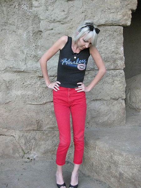 Skinny Jeans: The name of the pants imply that only skinny people can fit into. Source: http://commons.wikimedia.org/wiki/File:Skinny_jeans_02.jpg