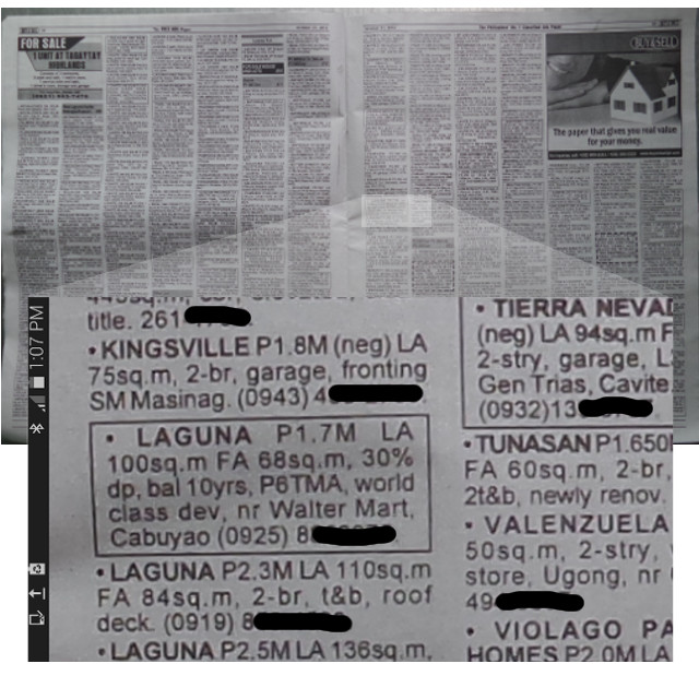 classified ads screenshot using mobile phone camera