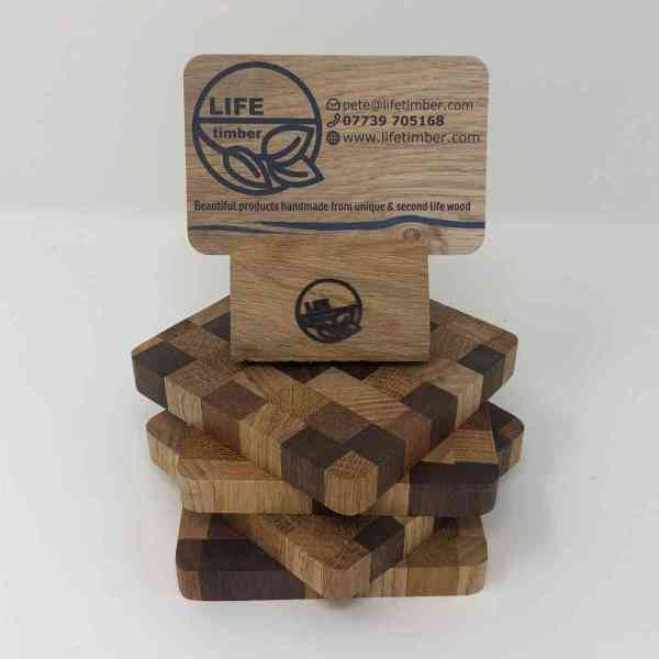 set of 4 coasters with business card