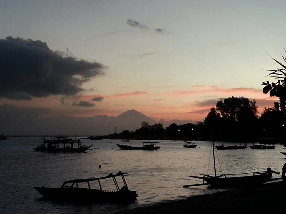 Indonesia Sunset Boats Beach