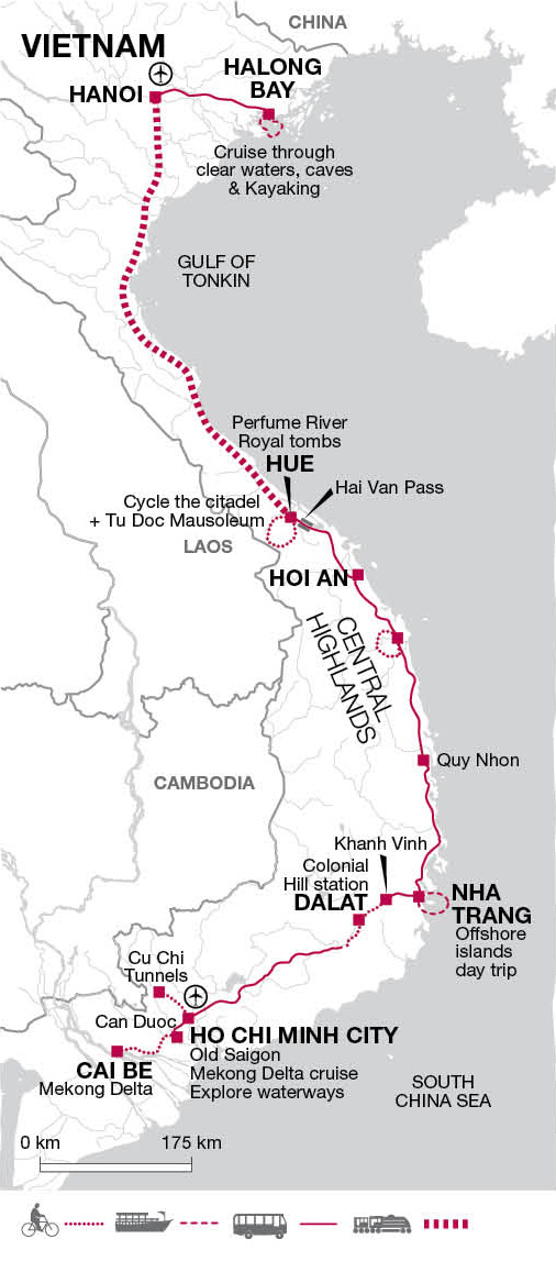 saigon to hanoi vietnam bike tours