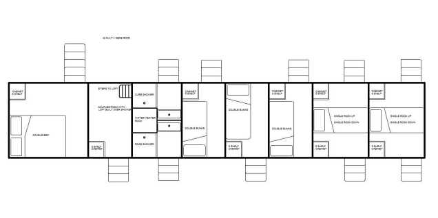 double bed room over 5th wheel, double bed loft, 3 double bunk rooms, 4 single rooms, & 2 showers