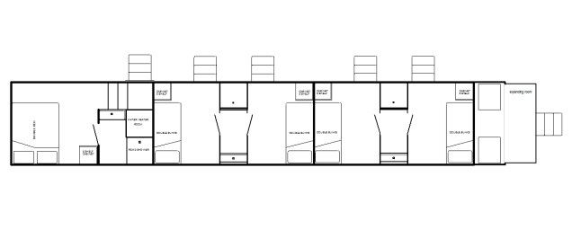 5th-wheel condo w/private shower, 4 double bunks, 2 showers & expanding room
