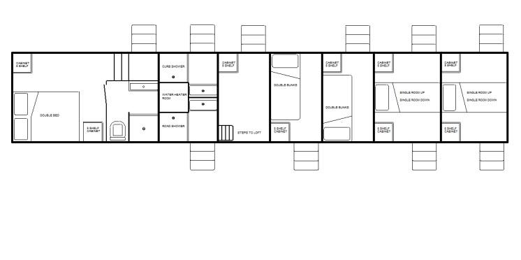 5th-wheel condo w/private bath, 2 doubles, 4 singles, loft room & 2 showers
