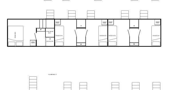 5th-wheel condo with private shower, 3 double bunk rooms, and 2 shower rooms