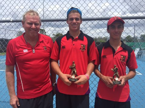 St Joseph's Gregory Terrace Tennis Players. Winning trophies with coach Graeme Brimblecombe.