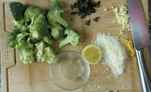 Chopped Broccoli and ingredients