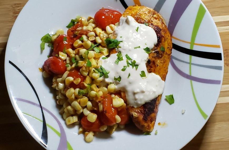 BBQ Spice Rubbed Chicken with Corn-Tomato Sauté