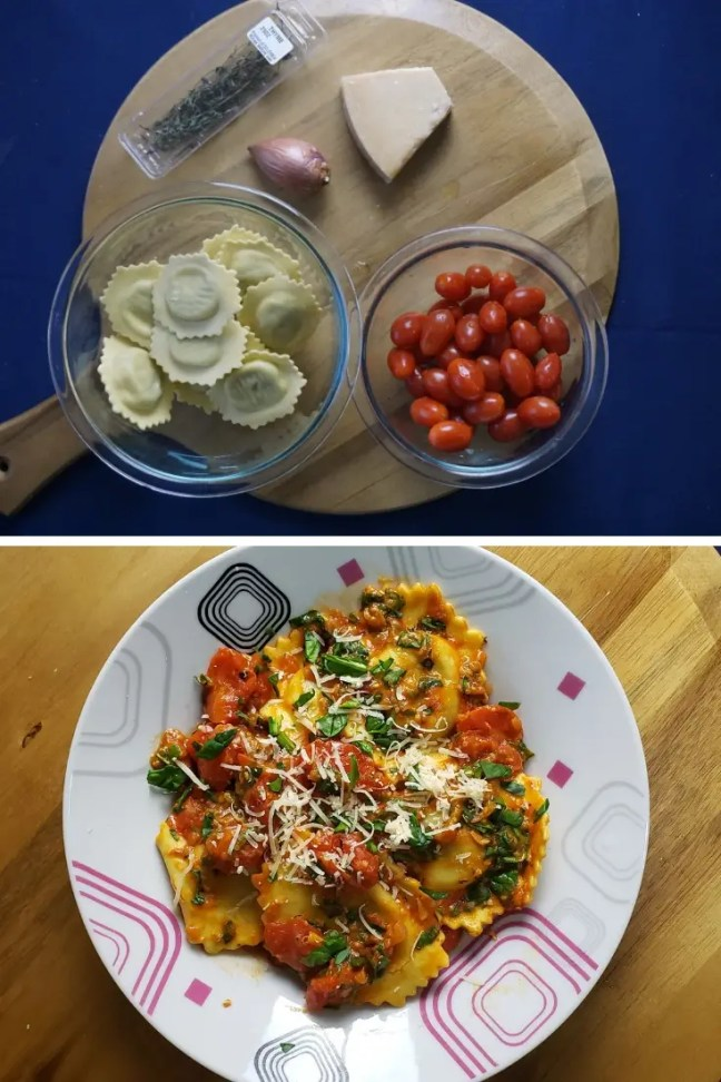 Easy Ravioli and spinach
