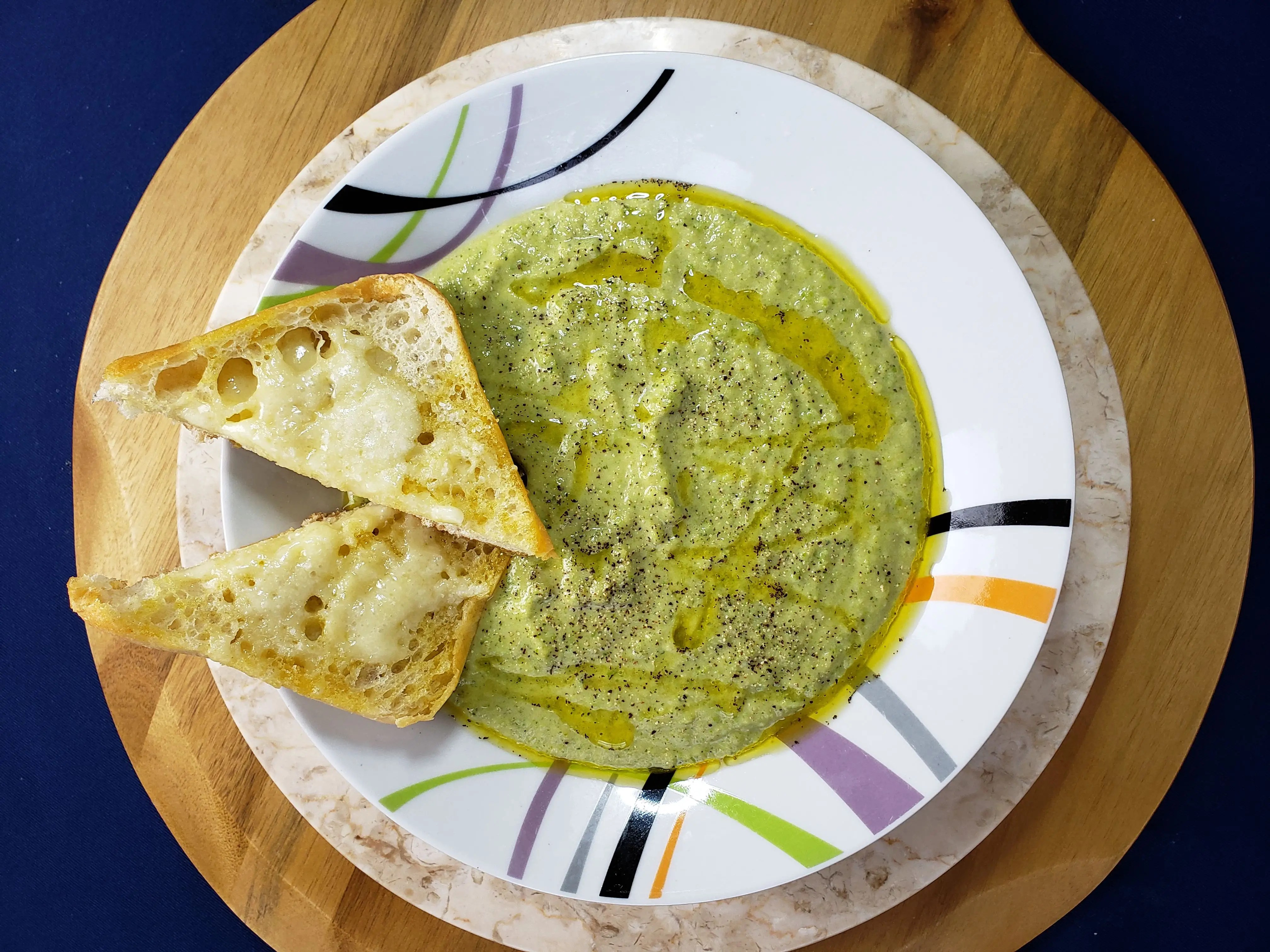 Broccoli Cheddar Peas  Soup with Garlicky Ciabatta