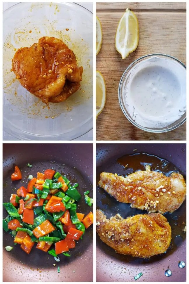 Chicken Fajita Bowl with Peppers & Sour Cream