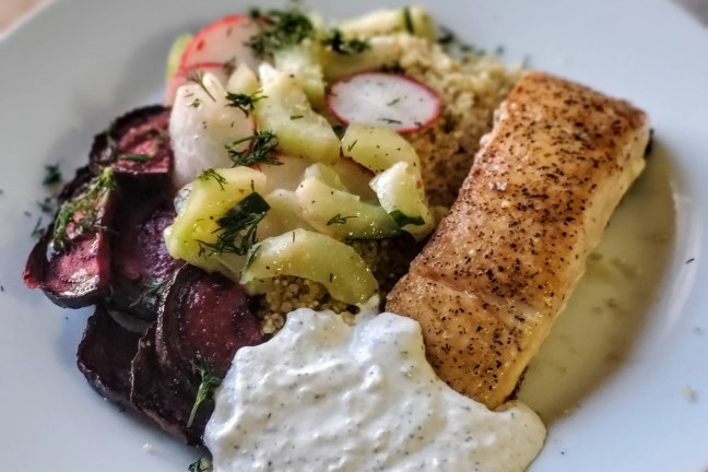 Scandinavian Crispy Salmon Bowl with Quinoa, Beets & Horseradish Cream