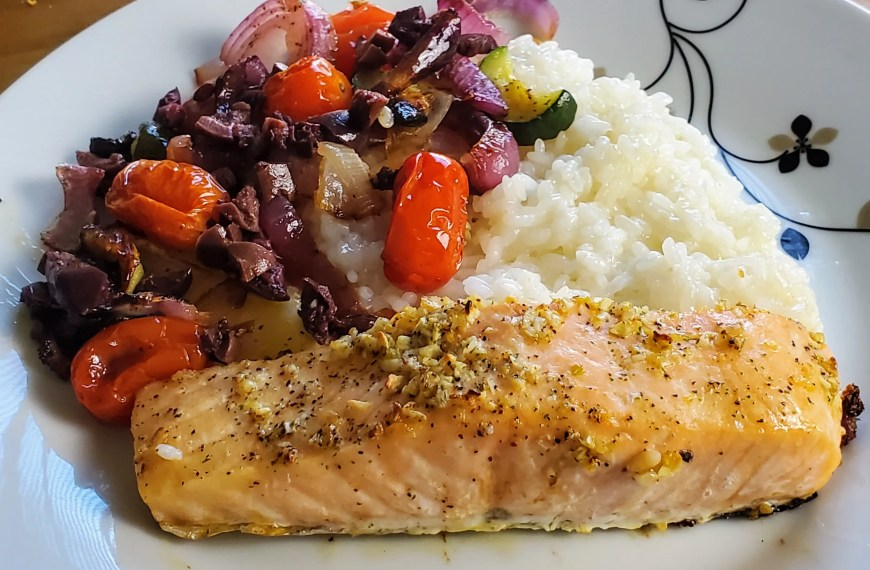 Salmon Provencal with Zucchini & Olives & Pinot Noir
