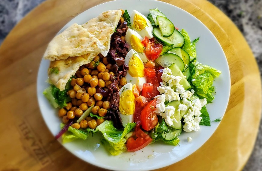 Vegetarian Greek Cobb Salad with a wine pairing