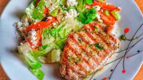 Lemon-Marinated Grilled Pork with Greek Salad