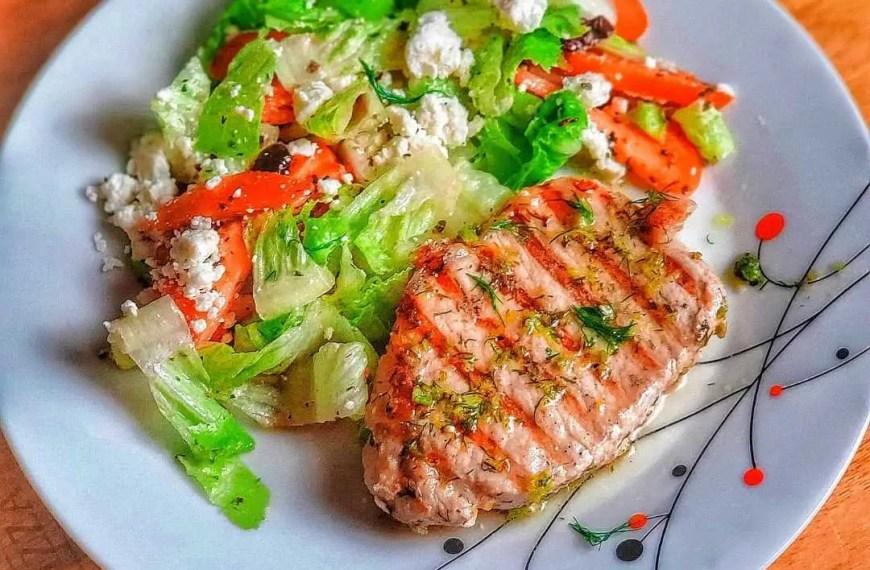 Lemon-Marinated Grilled Pork with Greek Salad