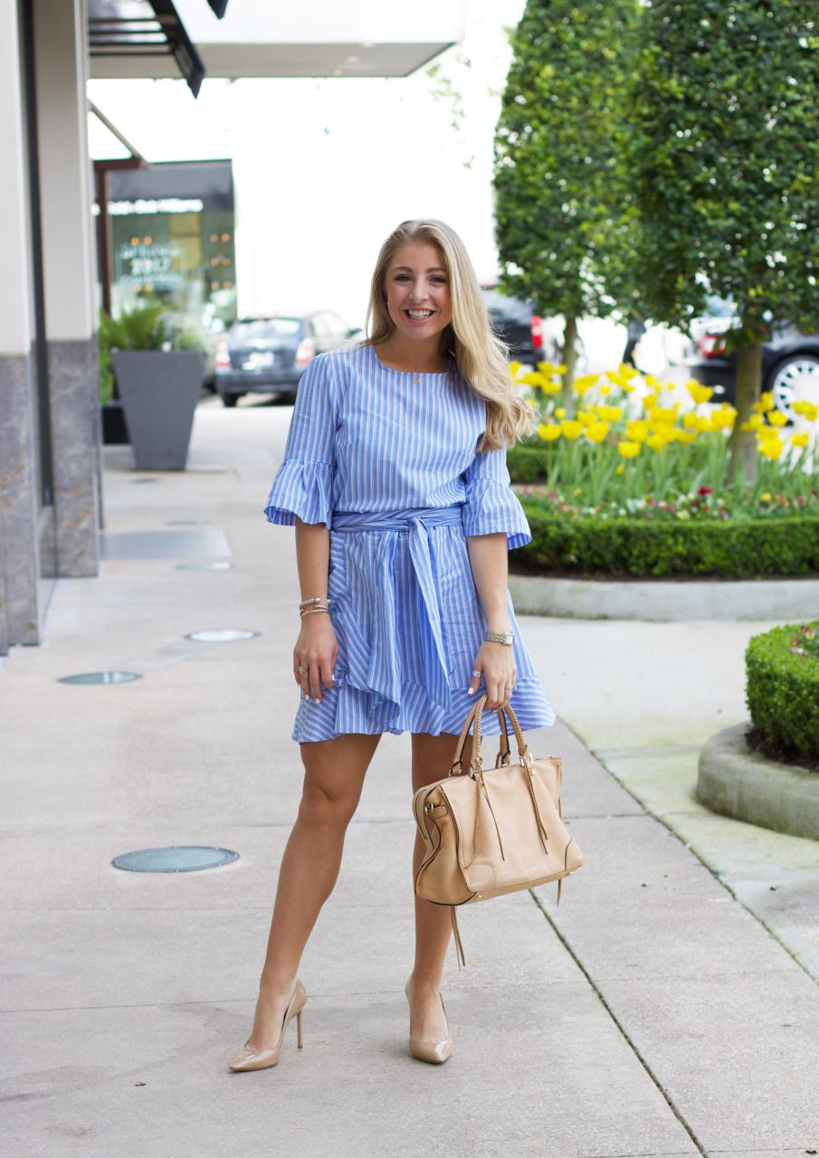blue striped dress - shein