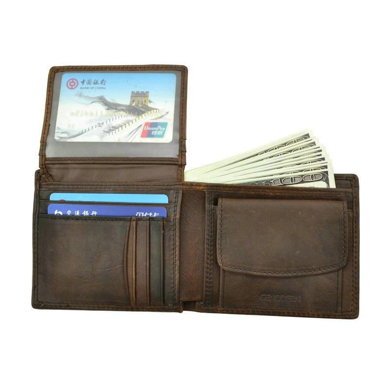 Mens Wallet Zipper Genuine Cow Leather Card Holder Vintage Boys Mini Money Bags
