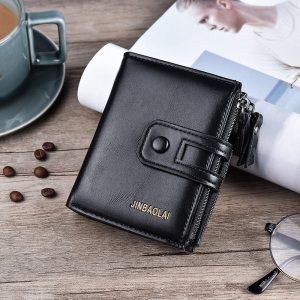JINBAOLA Men Wallet Brand Wallet Double Zipper&Hasp Design Small Wallet  Male High Quality Short Card Holder Coin Purse Carteira