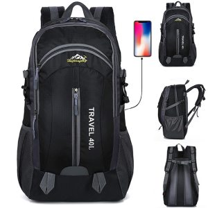 New Men Backpack USB Charging 40L Large Capacity Out Door For Male Bag Waterproof Casual Backpacks Unisex Black Travel