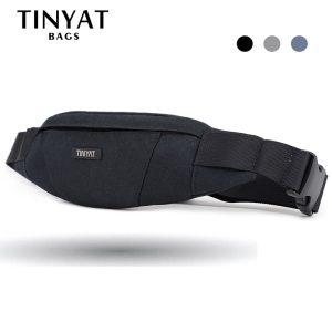 TINYAT Men Waist Bag pack Purse Waterproof Canvas Travel Phone belt bag pouch for Men Women