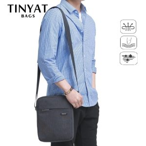 TINYAT Shockproof Men's Crossbody Bag pack hidden zipper Shoulder Bags for 9.7′ pad Male Handbag Canvas Leather