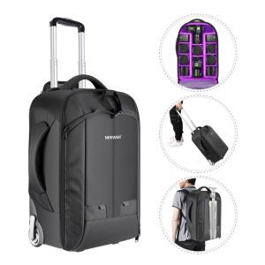 Neewer 2-in-1 Convertible Wheeled Camera Backpack Luggage Trolley Case with Double Bar Anti-shock Detachable Padded Compartment