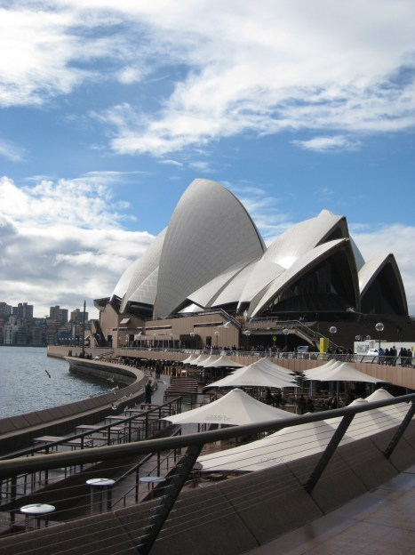 Looking back at the Opera House and adjoining (overpriced) cafes