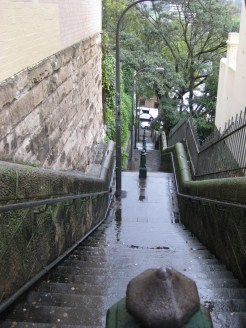 The view down a stairwell between parallel streets - this was a good 3-4 hike up