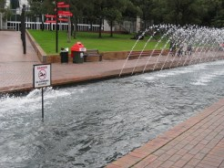 A long fountain ran down the center of the pathway towards the Harbour. I'm glad the sign was posted since it would be easy to confuse the fountain for a lap pool