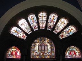 Stained glass windows in the Queen Victoria Building