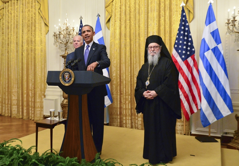 ΔΕΞΙΩΣΗ ΓΙΑ ΤΗΝ ΗΜΕΡΑ ΤΗΣ ΕΛΛΗΝΙΚΗΣ ΑΝΕΞΑΡΤΗΣΙΑΣ  ΣΤΟ ΛΕΥΚΟ ΟΙΚΟ   Ο Πρόεδρος των ΗΠΑ Μπαράκ Ομπάμα και ο Αντιπρόεδρος Τζο Μπάιντεν υποδέχθηκαν τον Αρχιεπίσκοπο Αμερικής Δημήτριο και παράγοντες της Ομογένειας στην ετήσια τελετή στο Λευκό Οίκο για τον εορτασμό της επετείου της Ελληνικής Ανεξαρτησίας, την Παρασκευή 4 Απριλίου 2014. Την ελληνική κυβέρνηση εκπροσώπησε ο Πρέσβης της Ελλάδος στις ΗΠΑ, Χρήστος Παναγόπουλος, ενώ στην τελετή παρέστησαν επίσης η Υπουργός Τουρισμού, Ολγα Κεφαλογιάννη και ο Υπουργός Πολιτισμού Πάνος Παναγιωτόπουλος. GANP/ ΑΠΕ-ΜΠΕ/ΔΗΜΗΤΡΗΣ ΠΑΝΑΓΟΣ  GANP/DIMITRIOS PANAGOS
