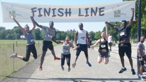Jumping for Joy at the 5K Finish Line