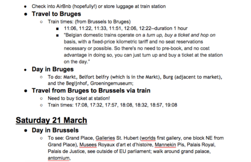 google doc to plan trip