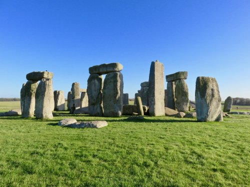closer view of stonehenge on a sunny day