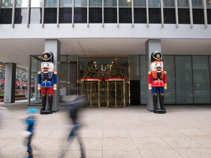 Christmas decorations outside the UBS building in NYC
