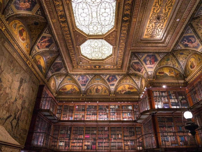 the interior of the east room at the morgan library, one of the most beautiful libraries in the world and a must-visit hidden gem in new york city