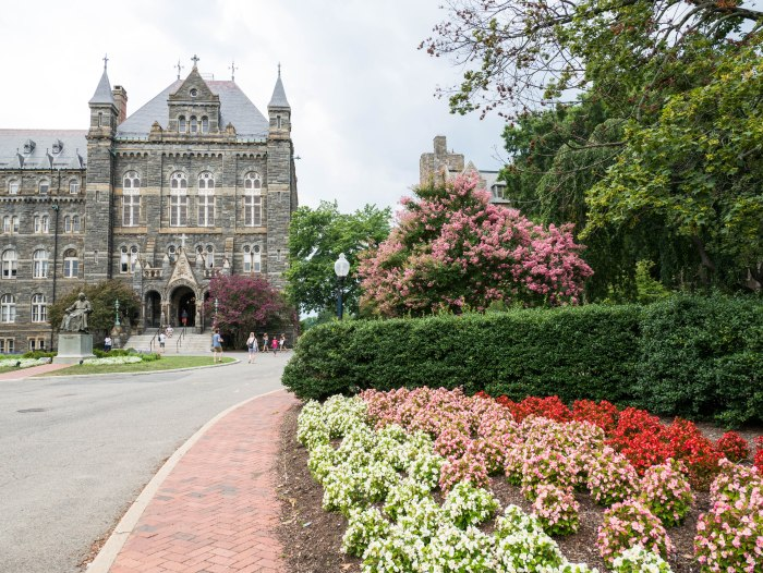 exterior shot of georgetown university in washington dc during summer