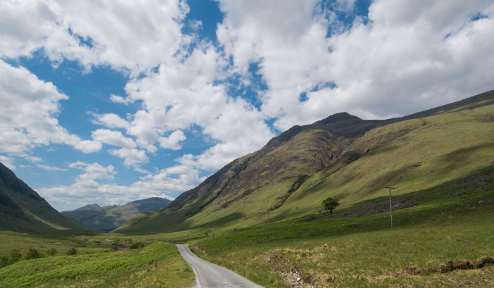 driving glen etive in the scottish highlands