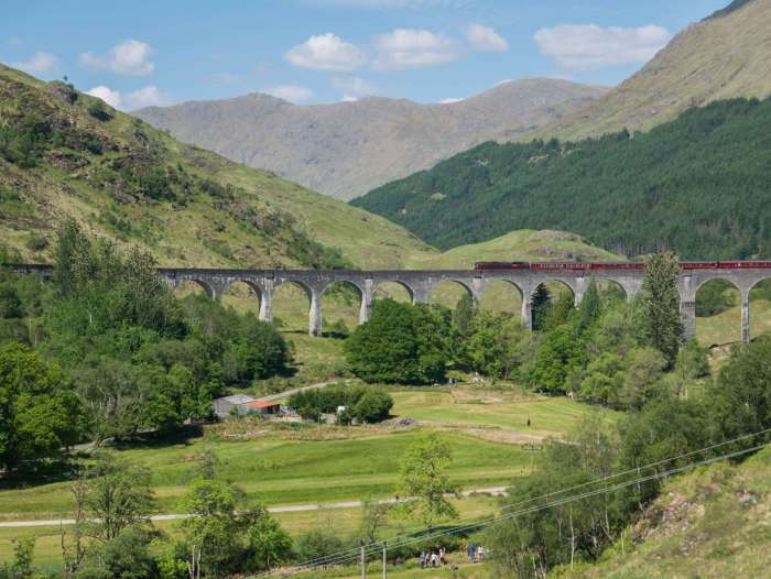 Made famous in Harry Potter, Glenfinnan Viaduct is a 1,000 ft viaduct 100 ft above the ground built in the late 1800s. Today, a Jacobite steam train travels on it from Fort William to Mallaig, Scotland. #HarryPotter #Glenfinnan #ScotlandisNow