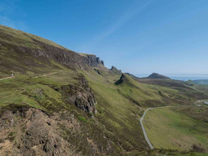 View of the Quiraing hike in Isle of Skye, Scotland, a must-do hike while on the Isle of Skye #Scotland #Skye #Highlands