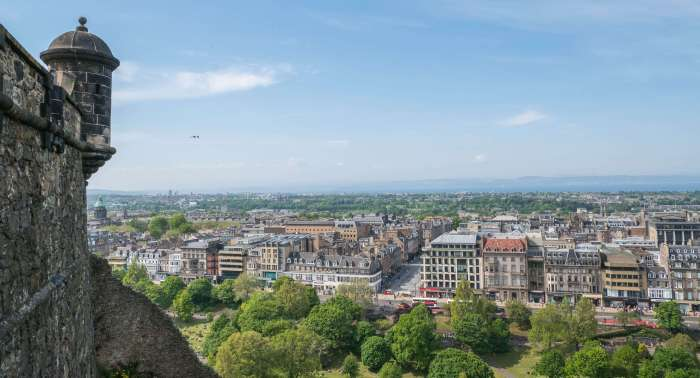 image of edinburgh from above taken from the ramparts of edinburgh castle