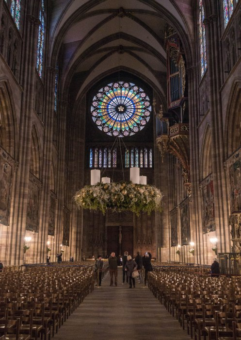 inside strasbourg cathedral during christmas with its advent wreath
