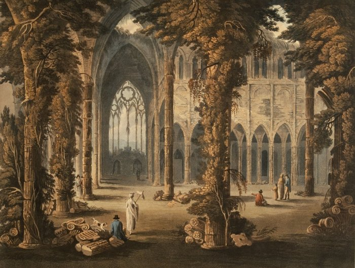 print of the south window of tintern abbey from a sketch by frederick calvert 1815